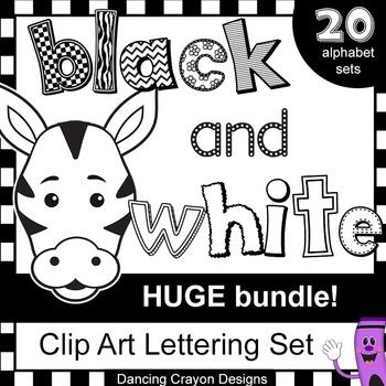Alphabet Letters Clip Art - HUGE Black and White Alphabet BUNDLE