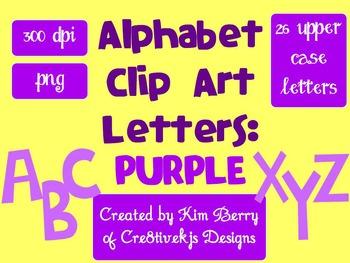 Alphabet Letters Clip Art:  Purple