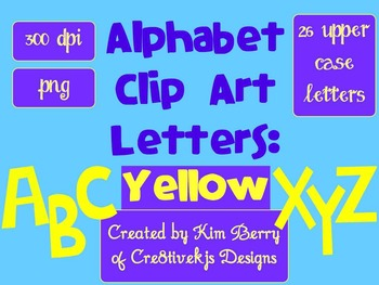 Alphabet Letters Clip Art:  Yellow