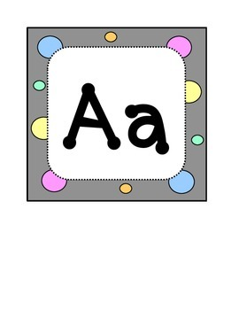 Alphabet Letters - Word Wall Headers - Dots & Pastel, Grey Theme