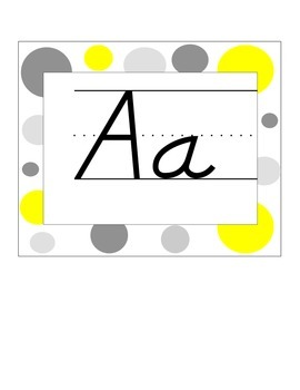 Alphabet Line Yellow and Gray Polka Dots D'Nealian