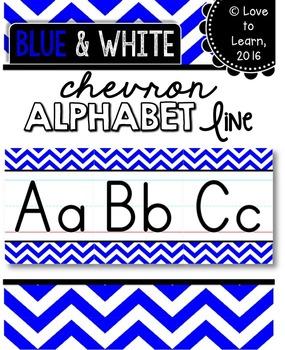Alphabet Line - Blue & White Chevron