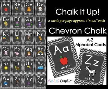Alphabet Line Cards Chalkboard 2 per Page Chevron A-Z Manu