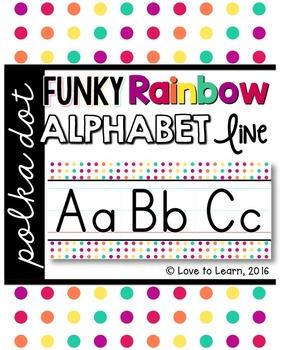 Alphabet Line - Funky Rainbow Polka Dot