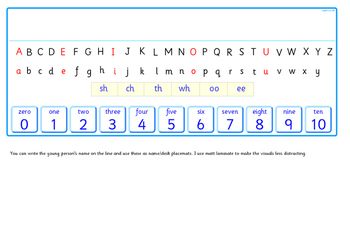 Alphabet Line with 0 to 10 and space for names