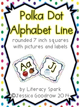 Alphabet Line with Pictures {Rounded Squares - Rainbow Polka Dot}