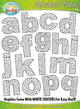 Alphabet Lowercase Letters Shaped Mazes Clipart Set — Incl