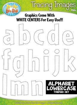 Alphabet Lowercase Letters Tracing Image Clipart Set — Inc