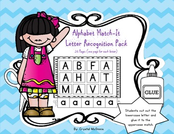 Alphabet Match Letter Recognition Pack-26 Pages (RTI, Lite