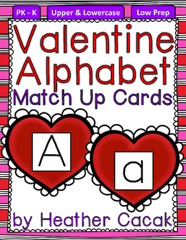 Alphabet Match Up Cards Lowercase to Uppercase {Valentine Hearts}