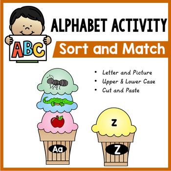 Alphabet Worksheets and Letter Matching Game - Ice Cream Center