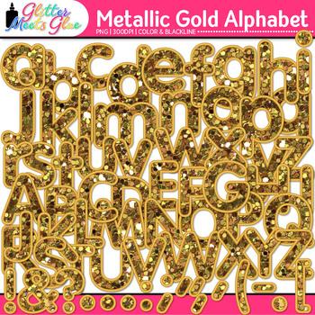 Metallic Gold Glitter Alphabet Clip Art {Great Christmas C