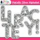 Metallic Silver Alphabet Clip Art {Great Christmas Classro