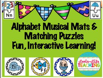 Alphabet Musical Mats and Matching Puzzles- Fun, Interacti