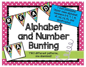 Alphabet & Number Bunting Banner - Classroom Decor - Large