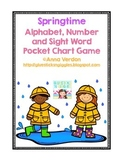 Alphabet, Number and Sight Word Pocket Chart Game (Spring Theme)