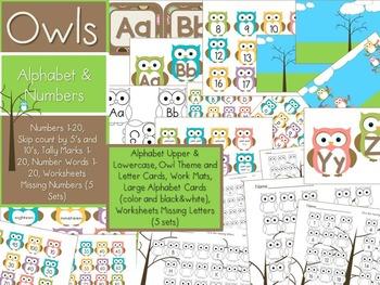 Math & Literacy Centers    - Numbers/Alphabet (Owls)