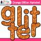 Orange Glitter Alphabet Clip Art {Great for Classroom Deco