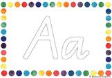 Alphabet Outline Posters - Queensland Cursive font (Rainbo