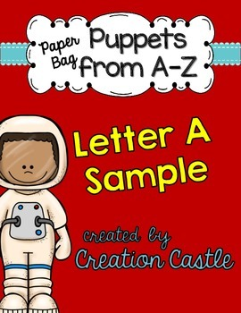 Alphabet Paper Bag Puppets - Letter A Sample