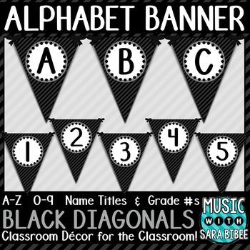 Alphabet Pennant Banner- Black Diagonals