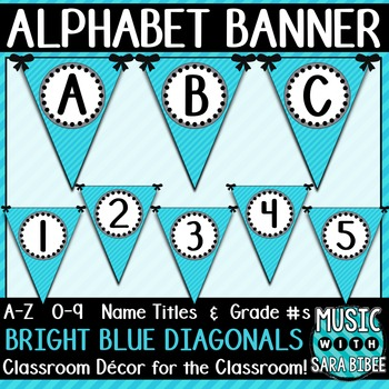 Alphabet Pennant Banner- Bright Blue Diagonals