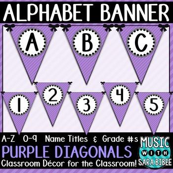 Alphabet Pennant Banner- Purple Diagonals