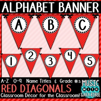 Alphabet Pennant Banner- Red Diagonals