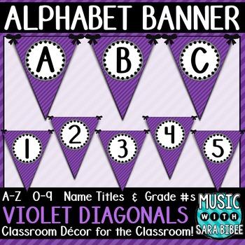 Alphabet Pennant Banner- Violet Diagonals