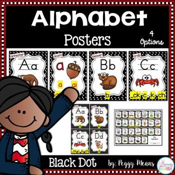 Alphabet Phonics Posters {Black Dot Theme}