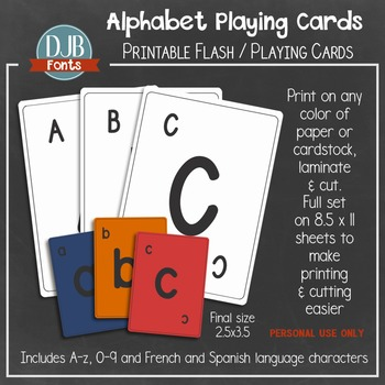Alphabet Playing Card / Flash Card Printables