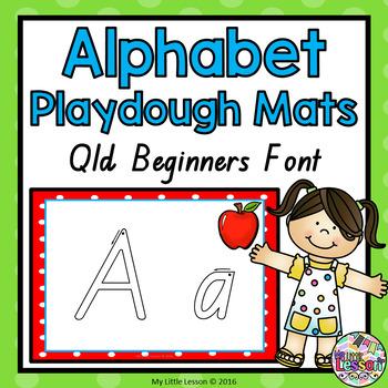 Alphabet Playdough Mats - Qld Beginners Font