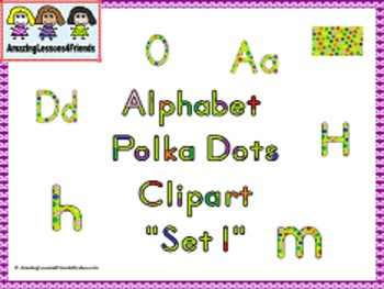 Alphabet Polka Dots Clipart set 1