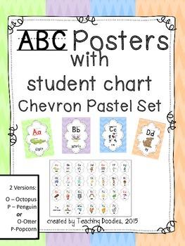Alphabet Poster ~ Chevron Pastel Theme