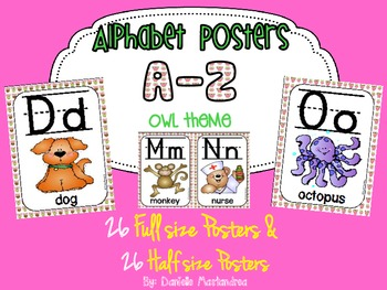 Alphabet Poster Set: A-Z (Full & Half Size Posters) {Owl Theme}