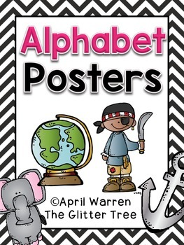 Alphabet Posters-Black and White Chevron
