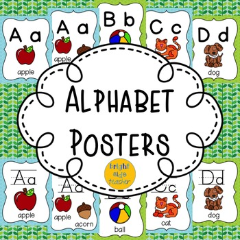 Alphabet Posters: Blue and Green Spotty