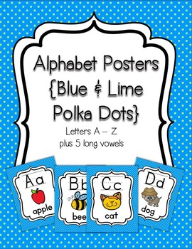 Alphabet Posters {Blue and Lime Polka Dot}