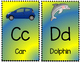 Alphabet Posters - Blue and Yellow - KG MS Kindergarten Font