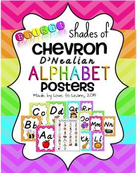 Alphabet Posters - Bright Shades of Chevron - D'Nealian Ma