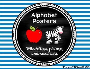 Alphabet Posters- Bright Stripes