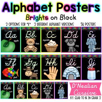 Alphabet Posters ~ Brights on Black {D'Nealian Cursive}