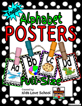 Alphabet Posters-Blk and White Polka Dots ENGLISH Version