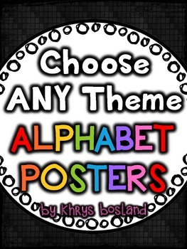 Alphabet Posters {Choose ANY THEME} {Many Picture Options}