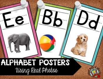 Alphabet Posters Classroom Decor /Using Real Photos/ Pink,