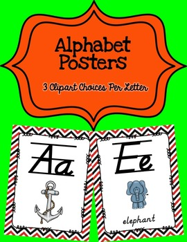 Alphabet Posters D'Nealian {Lined with Red and Black Chevron)