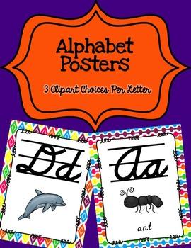 Alphabet Posters Cursive-Lined {Rainbow}