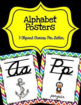 Alphabet Posters Cursive Lined {Rainbow Chevron}