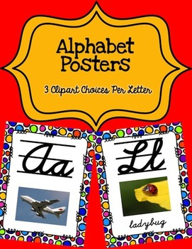 Alphabet Posters Cursive-Lined (Polka-Dots)