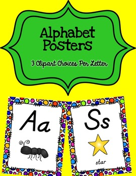 Alphabet Posters D'Nealian {Unlined with Polka-Dot Background)